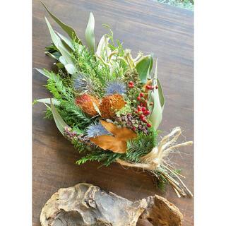 〜秋の実りのスワッグ〜ネイティブフラワーと月桂樹のスワッグ○ドライフラワー