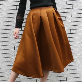 デイシー(deicy)のdeicy ヘビーサテンフレアースカート ブラウン 0(ひざ丈スカート)