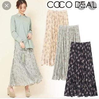 ココディール(COCO DEAL)のココディール ヴィンテージフラワープリントワッシャープリーツスカート(ロングスカート)