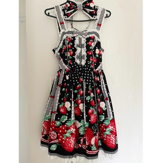 Angelic Pretty(アンジェリックプリティー)の摘みたていちごジャンパースカート、カチューシャセット 2点セット JSK レディースのワンピース(ひざ丈ワンピース)の商品写真