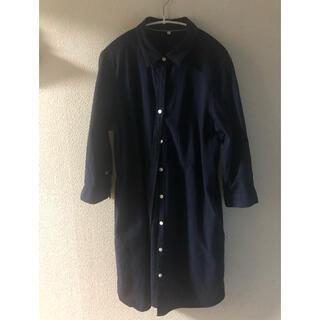 しまむら - シャリ感のある綿100ロングシャツ LL