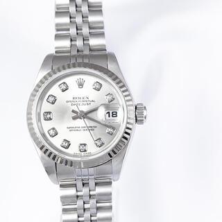 ロレックス(ROLEX)の【仕上済】ロレックス 10P ダイヤ シルバー 文字盤 レディース 腕時計(腕時計)