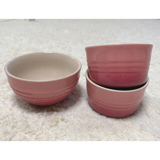 LE CREUSET - ル・クルーゼ ピンク ボウル 茶碗 3点セット