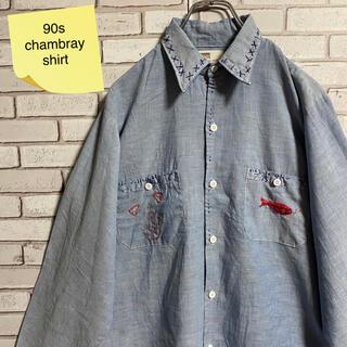 90s 古着 ヴィンテージ シャンブレーシャツ 刺繍 BDシャツ ゆるだぼ