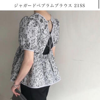 アメリヴィンテージ(Ameri VINTAGE)のジャガードペプラムトップス(シャツ/ブラウス(半袖/袖なし))