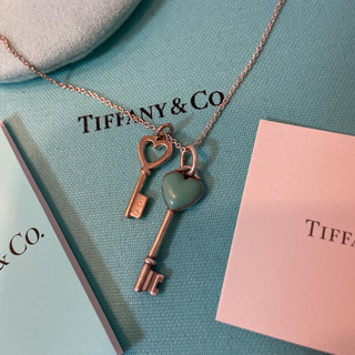 Tiffany & Co. - ティファニー ダブルハートキーネックレス シルバー ブルーエナメル