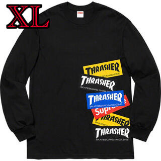 Supreme - 【送料込み★】Supreme × Thrasher マルチロゴ ロンT 黒 XL