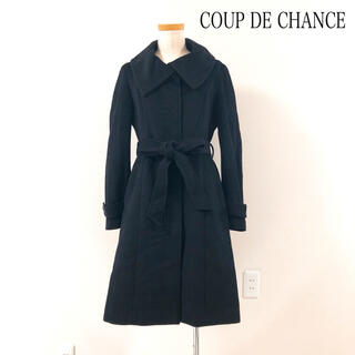 クードシャンス(COUP DE CHANCE)のCOUP DE CHANCE アンゴラウールコート 黒 美スタイル 上品素敵♡(ロングコート)