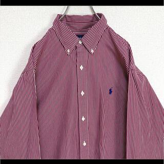 ラルフローレン(Ralph Lauren)のラルフローレン BDシャツ 長袖 赤ストライプ 紺ポニー ゆるだぼ XL (シャツ)