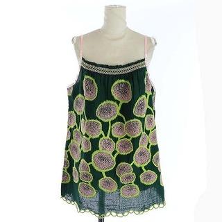 ミナペルホネン(mina perhonen)のミナペルホネン キャミソール 花柄 総柄 38 M ピンク 緑(キャミソール)