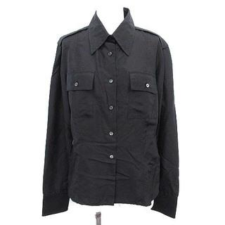 グッチ(Gucci)のグッチ GUCCI シャツ シルク 長袖 無地 ブラウス ロゴボタン 40 黒(シャツ/ブラウス(長袖/七分))