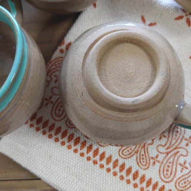 益子焼 青磁色 貫入いり マグカップ 5個セット インテリア/住まい/日用品のキッチン/食器(食器)の商品写真