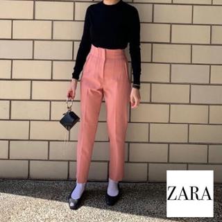 ZARA - 【zara】ハイウエストパンツ ピンク