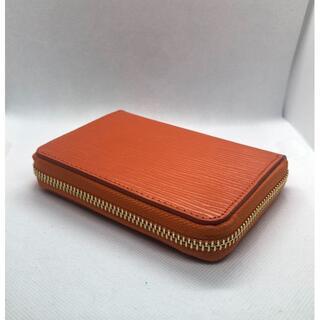 本革型押し エピ柄 ラウンドファスナー ミニ財布 スカッシュオレンジ(財布)