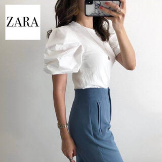 ZARA - 【ZARA】ハイウエストパンツ パウダーブルー
