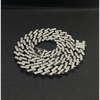 マイアミキューバ チェーン ジルコニアダイアモンドネックレス シルバー 50cm(ネックレス)