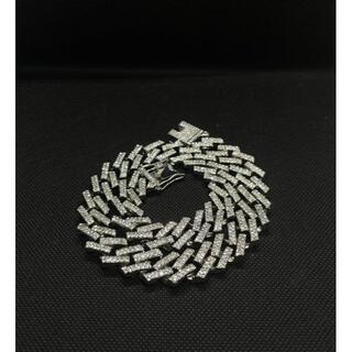 マイアミキューバ チェーン ジルコニアダイアモンドネックレス シルバー 40cm(ネックレス)