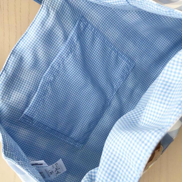 familiar(ファミリア)のfamiliar 水色 チェックトートバッグ キッズ/ベビー/マタニティのこども用バッグ(トートバッグ)の商品写真