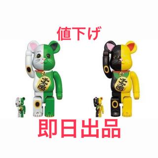 メディコムトイ(MEDICOM TOY)のBE@RBRICK 招き猫 400%&100% 白×緑・黒×黄 セット(その他)