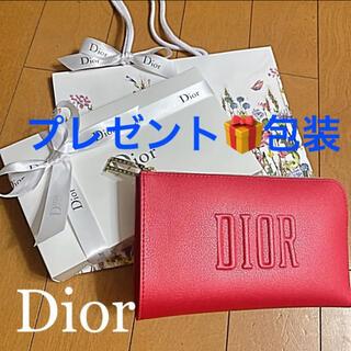 クリスチャンディオール(Christian Dior)のプレゼント用 ディオール ノベルティ 赤 ポーチ 新品未使用 リボン付き(ポーチ)