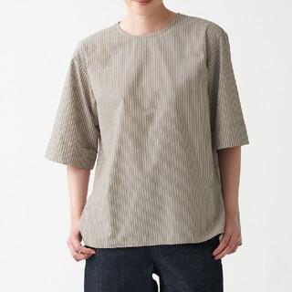 ムジルシリョウヒン(MUJI (無印良品))の新品 タグ付き 無印良品 半袖 ストライプ ゆったり M〜L (シャツ/ブラウス(半袖/袖なし))