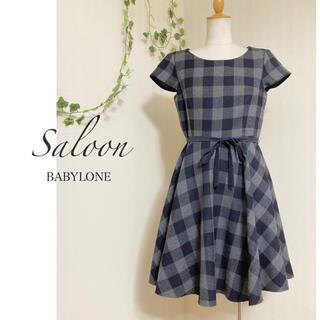 BABYLONE - サルーン ◆ ウールチェックワンピース ◆ 日本製