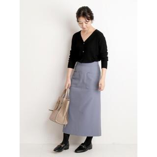 イエナスローブ(IENA SLOBE)のスローブイエナ ウールライクサイドポケットタイトスカート 36 サックスブルー(ロングスカート)