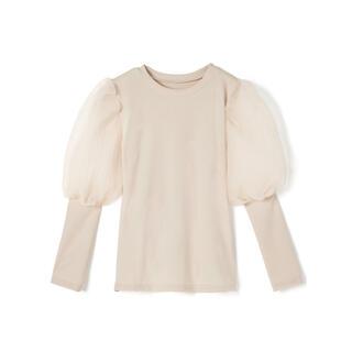 グレイル(GRL)のGRL 袖チュールニットトップス オフベージュ 新作 人気 韓国ファッション(カットソー(長袖/七分))