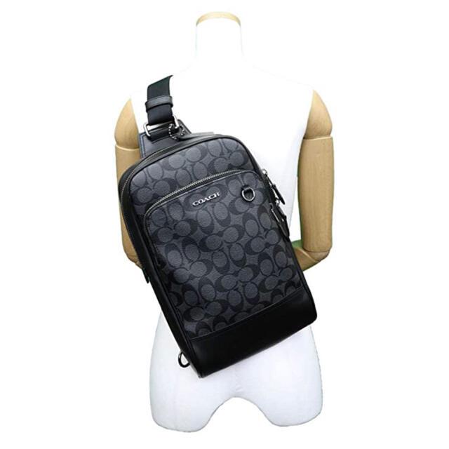 COACH(コーチ)の新品 コーチ COACH ボディバッグ ブラック シグネチャー メンズ メンズのバッグ(ボディーバッグ)の商品写真