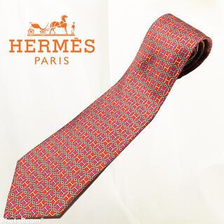 エルメス(Hermes)の高級 フランス製 HERMES エルメス Hマーク 総柄 レッド 高級シルク(ネクタイ)