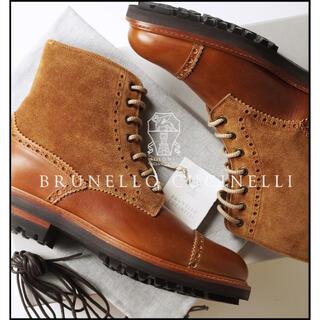 ブルネロクチネリ(BRUNELLO CUCINELLI)の新品16万ブルネロクチネリ贅沢フルブローグレースアップブーツ42/JP27㎝(ブーツ)