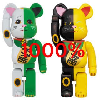 MEDICOM TOY - BE@RBRICK 招き猫 1000% 白×緑・黒×黄