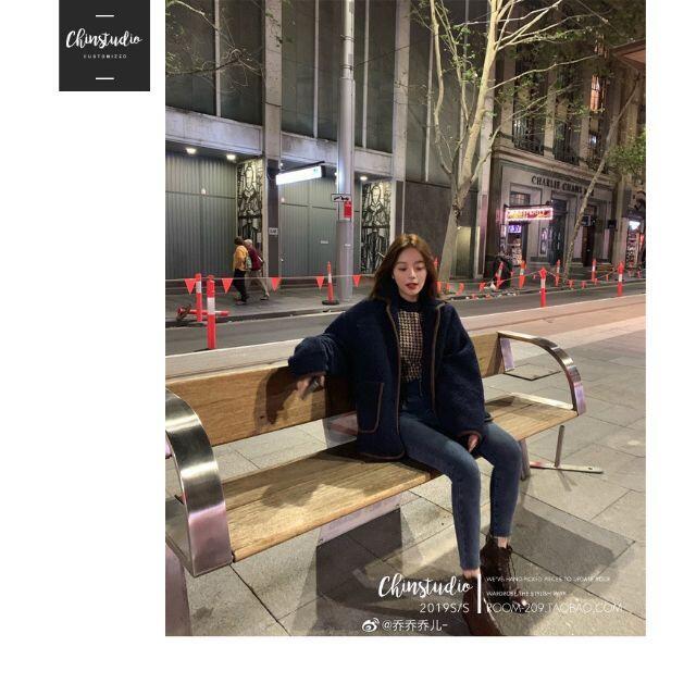 サマーニット 秋  千鳥柄 5分袖 パフスリーブ カットソー トップス 韓国 レディースのトップス(Tシャツ(半袖/袖なし))の商品写真