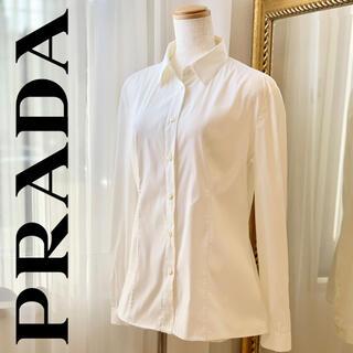 プラダ(PRADA)の【美品】プラダ PRADA シャツブラウス 白シャツ(シャツ/ブラウス(長袖/七分))