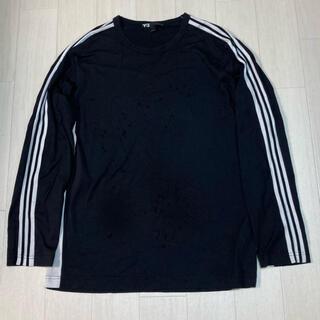 ワイスリー(Y-3)の黒 Y-3 ロングカットソー ストライプ ロンT L アディダス adidas(Tシャツ/カットソー(七分/長袖))