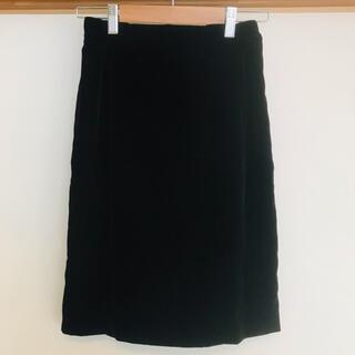 ココディール(COCO DEAL)のココディール スカート 黒 ベロア タイト サイズ1(ひざ丈スカート)