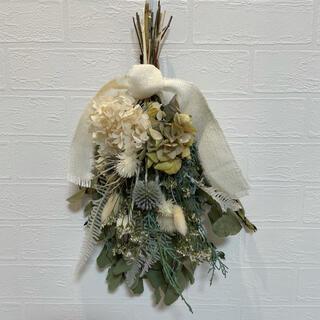 ドライフラワースワッグ ナチュラルブーケ 瑠璃玉 紫陽花 プリザーブドフラワー
