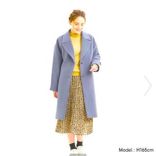 ジーユー(GU)の新品未使用☆GU ウールブレンドオーバーサイズチェスターコート Mサイズ ブルー(ロングコート)