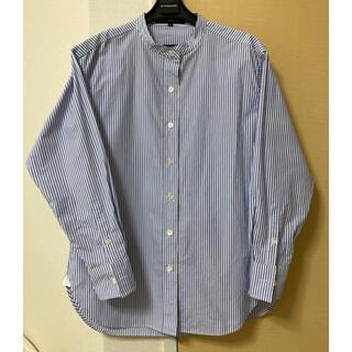 ニジュウサンク(23区)の美品♡23区Sバンドカラーシャツ・ブルーストライプ♡32サイズ(シャツ/ブラウス(長袖/七分))