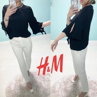 エイチアンドエム(H&M)のH&M  袖開きシャツ❤️サイズM ブラック(シャツ/ブラウス(長袖/七分))