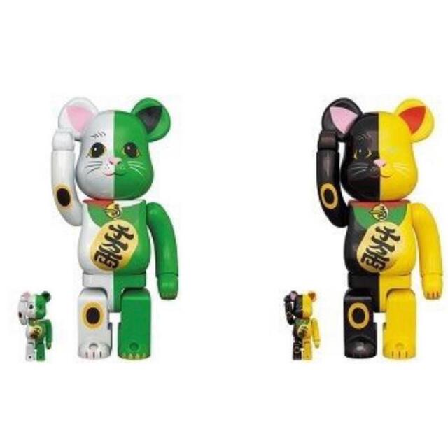 BE@RBRICK 招き猫 100%&400% 白×緑 黄×黒 2体セット エンタメ/ホビーのフィギュア(その他)の商品写真