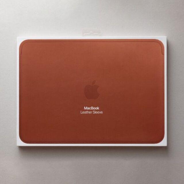 Apple(アップル)の新品未開封 Apple純正 MacBook用 レザースリーブ ブラウン スマホ/家電/カメラのPC/タブレット(PC周辺機器)の商品写真