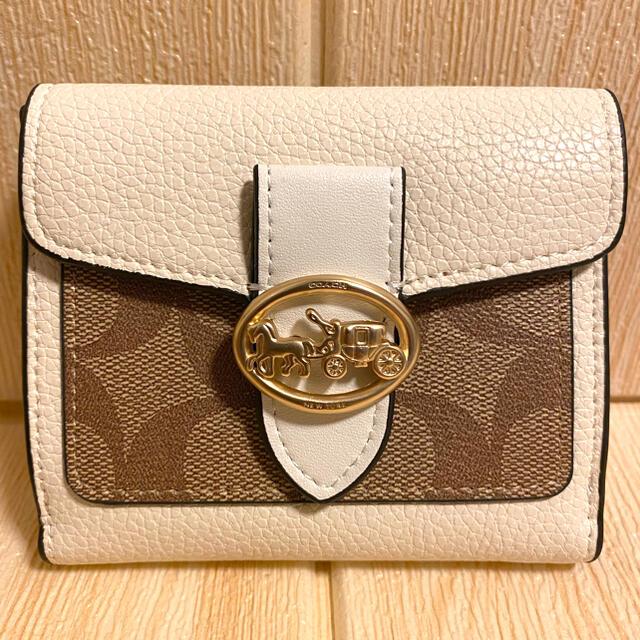COACH(コーチ)の☆COACH 新作 ジョージー ミニ折財布 ブロックド シグネチャー キャンバス レディースのファッション小物(財布)の商品写真