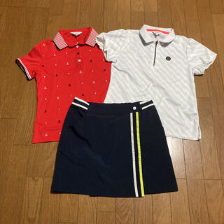 ランバン(LANVIN)のランバン ゴルフ レディース ポロシャツ2枚、スカート1点Lサイズ3点セット売り(ウエア)