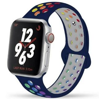 Apple Watch スポーツ バンド 42/44mm ネイビー/レインボー(その他)
