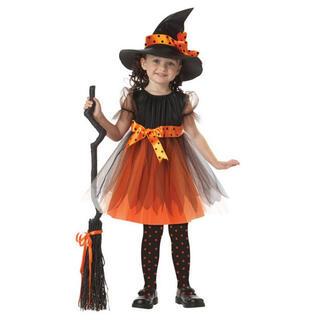 ハロウィン 子ども コスプレ とんがり帽子 魔女ドレス キッズ コスプレ 仮装(衣装一式)