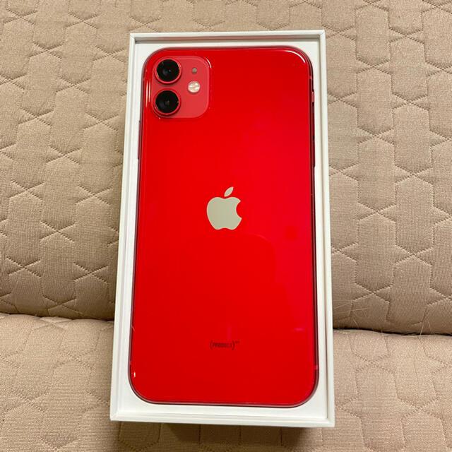 Apple(アップル)の【美品】iPhone 11 (PRODUCT)RED 128 GB スマホ/家電/カメラのスマートフォン/携帯電話(スマートフォン本体)の商品写真