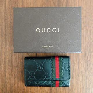 Gucci - グッチ キーケース シマレザー シェリーライン 6連  ブラック