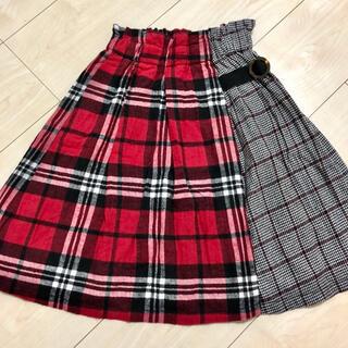 プティマイン(petit main)のアプレレクール 130 チェックスカート タータンチェック 巻きスカート風(スカート)