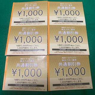 西武ホールディングス 共通割引券 株主優待券 6000円分